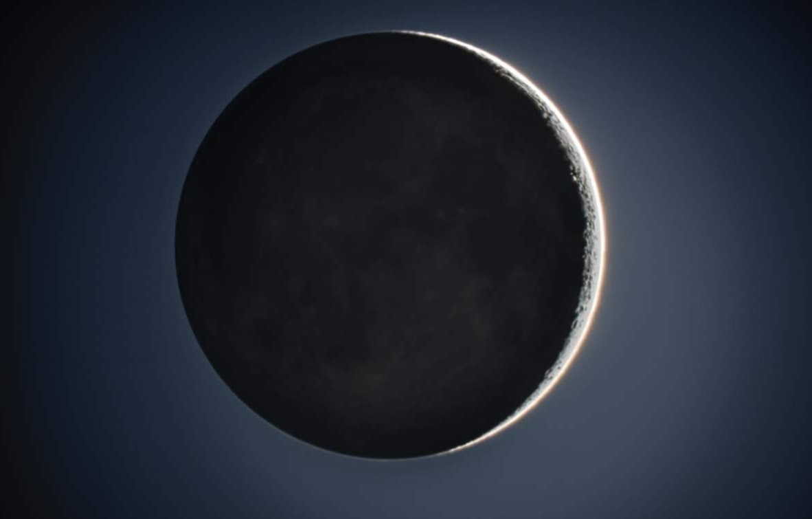 High dynamic range (HDR) image of 2% waxing crescent moon. Image generated from stacked exposures taken with my Celestron 8SE with focal length reducer.