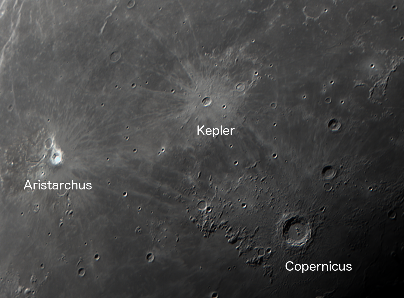 Lunar craters Aristarchus, Kepler, and Copernicus, imaged with a ZWO 224ACI camera and Celestron 8SE telescope.