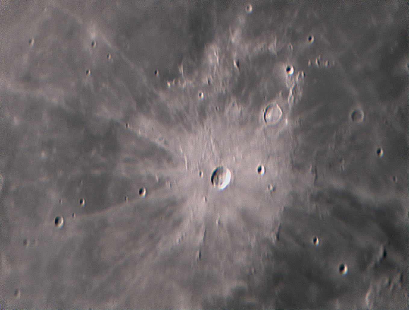 The bright ray crater Kepler, as imaged with ZWO 224ASI camera the night of a 46% illuminated waning moon.