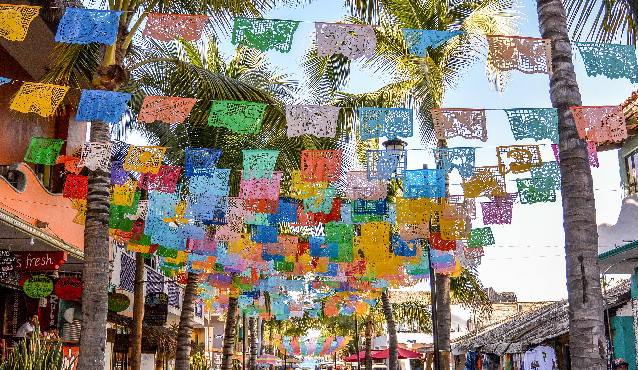 Colourful banners in Sayulita, Mexico