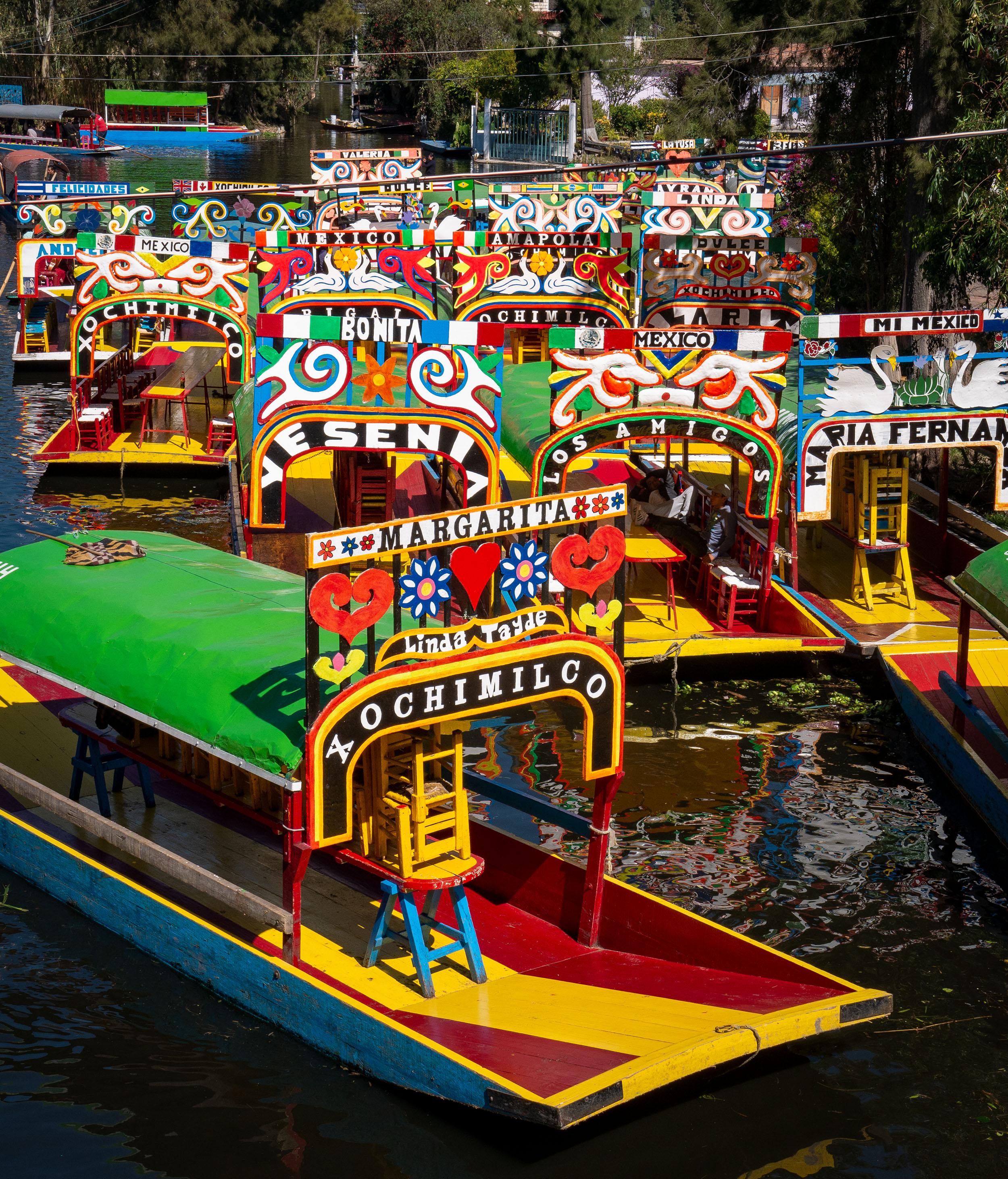Colourful Trajineras in Xochimilco, Mexico