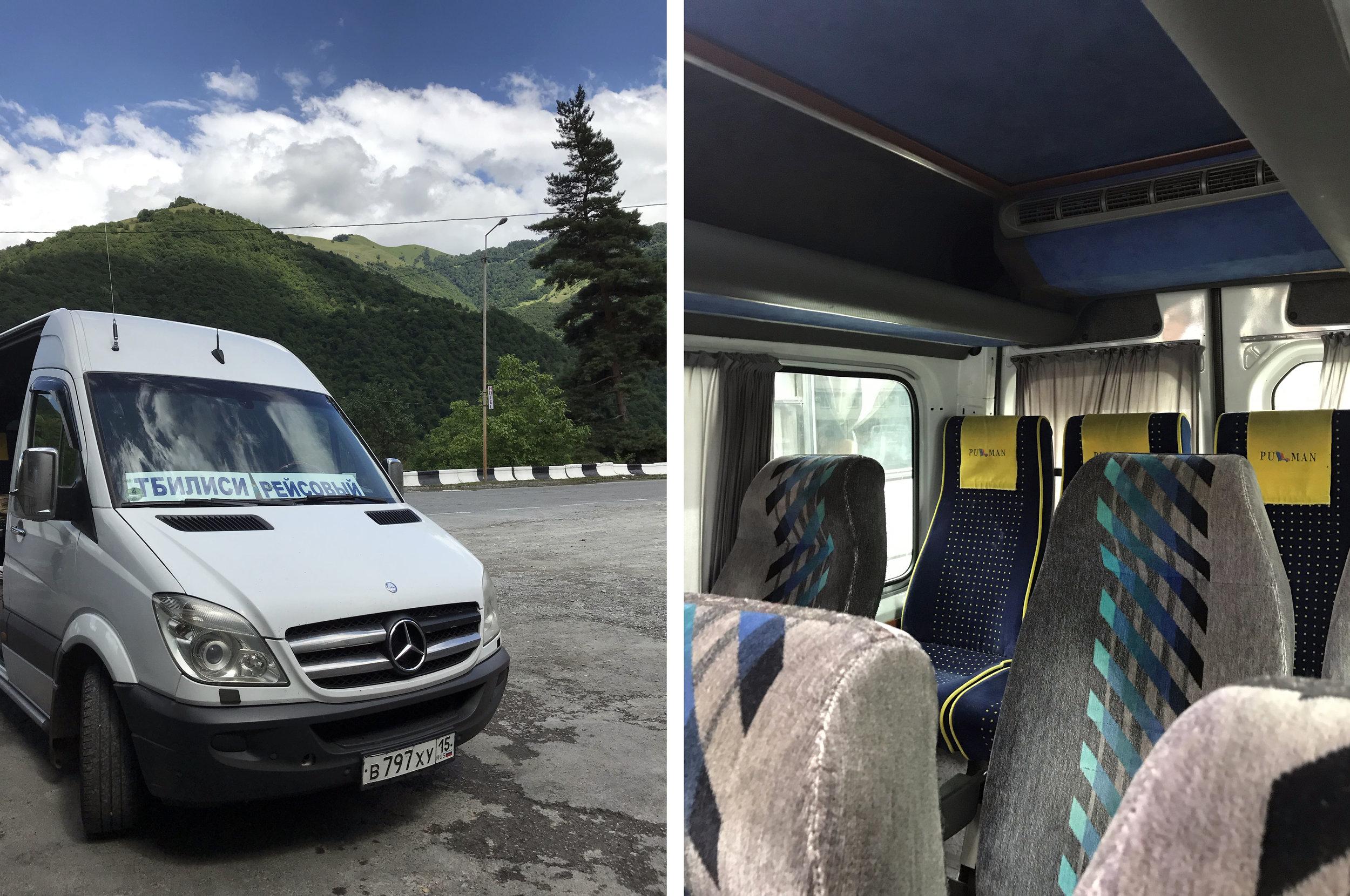 """Our mini """"bus"""" from Vladikavkaz to Tbilisi"""