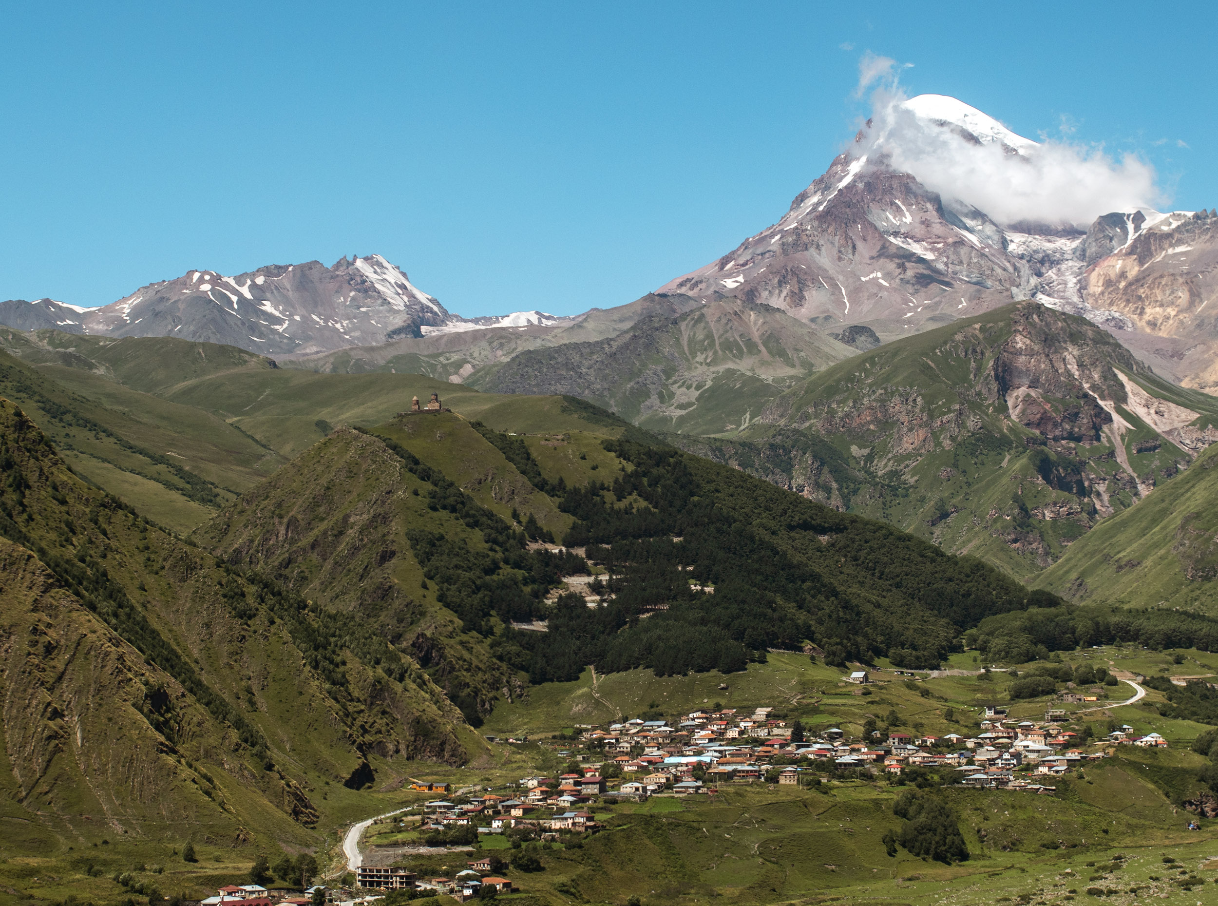 View from the Rooms Hotel in Kazbegi, Georgia