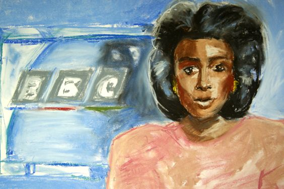 'Moira Stewart Reading the News in the 80s'. - pastel on paper Part of a series of naïf celebrity portraits made in 2016. I made these works as an expression of authenticity and vulnerability. I am inspired by the world of fan art and especially the subculture of slash art and fiction where women create erotic works about their favourite characters, for each other.