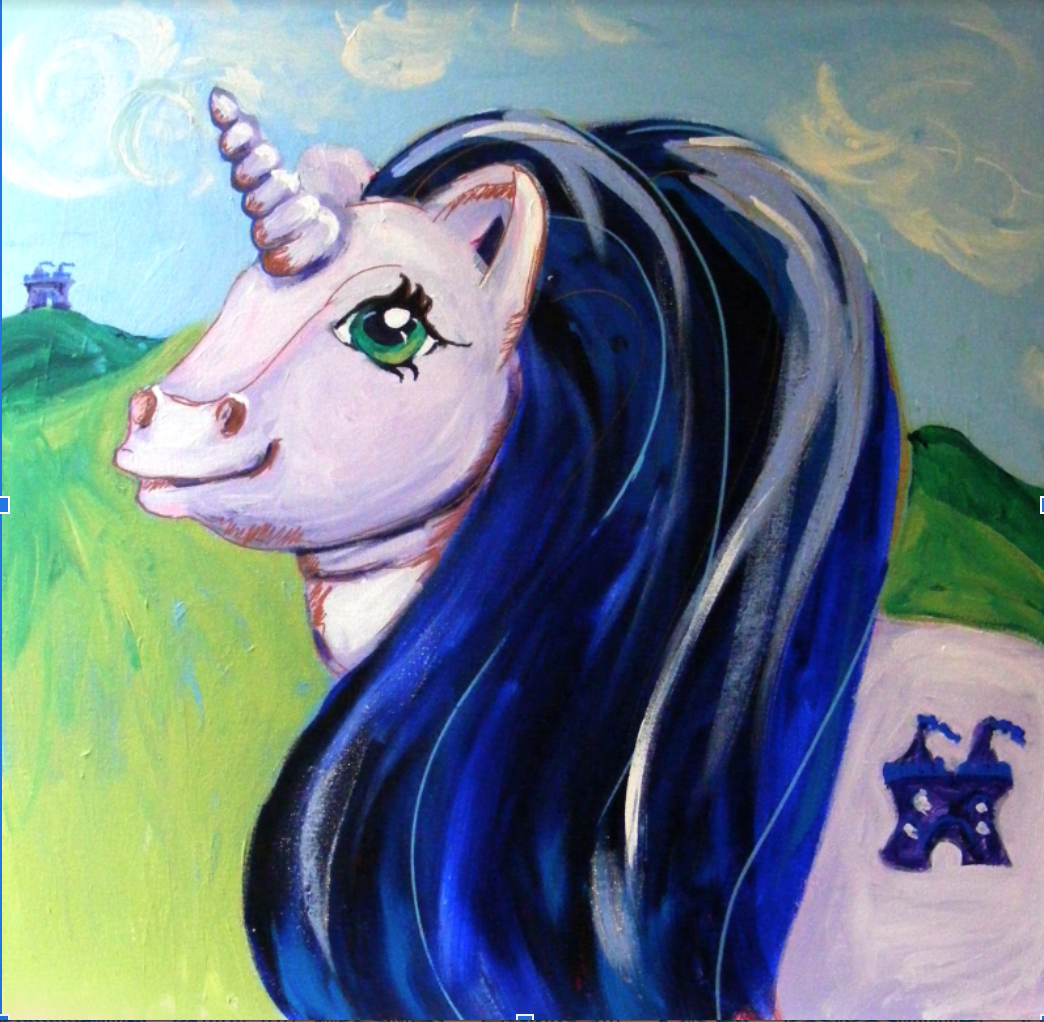 "'The Purple Unicorn'. I created this for a private commission. I based this pony on the original 1980s ""Majesty"" My Little Pony toy."