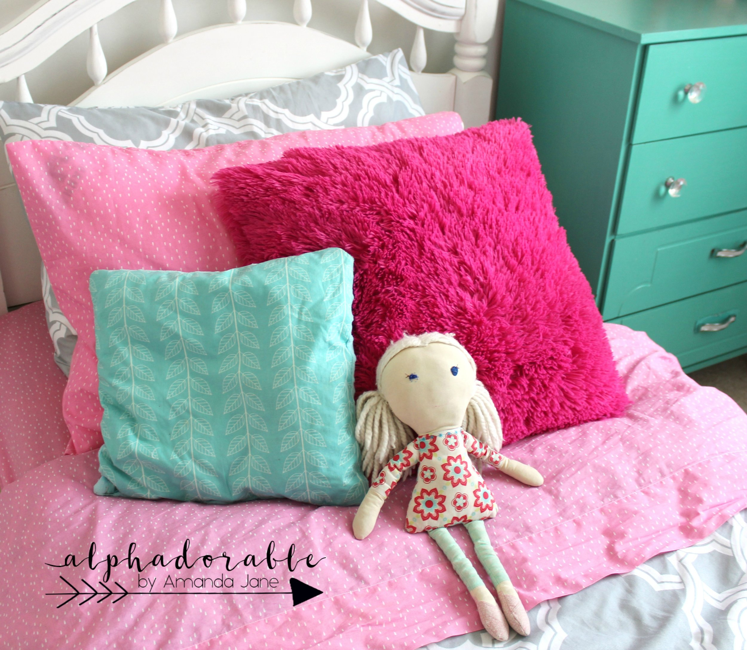 girls pink turquoise and grey bedding