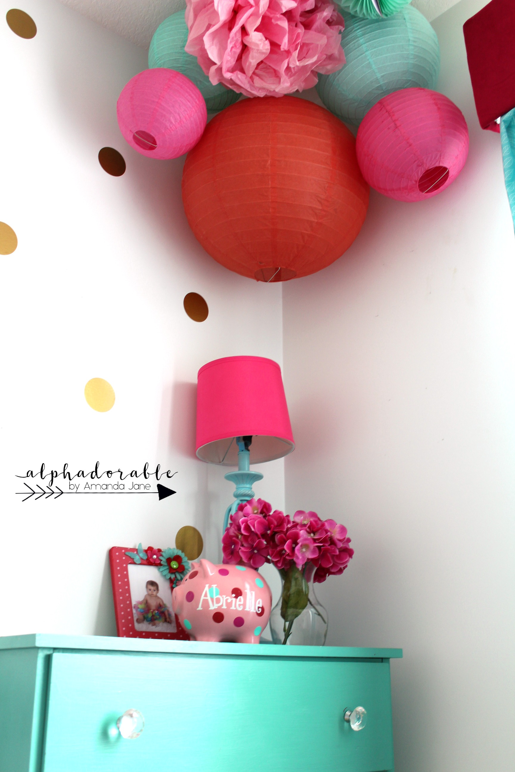 girls pink and turquoise decor ideas