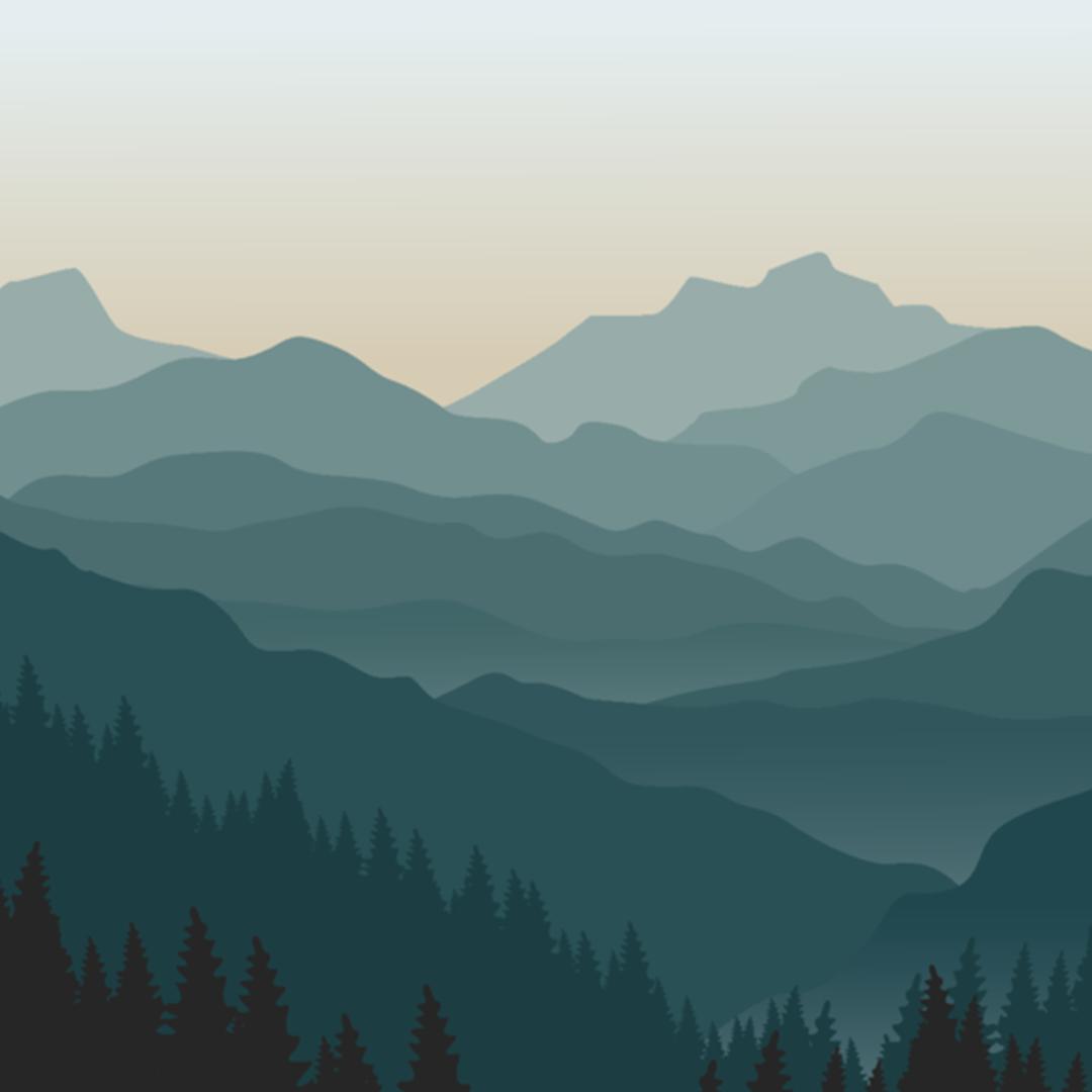 Blue ombre mountain mural