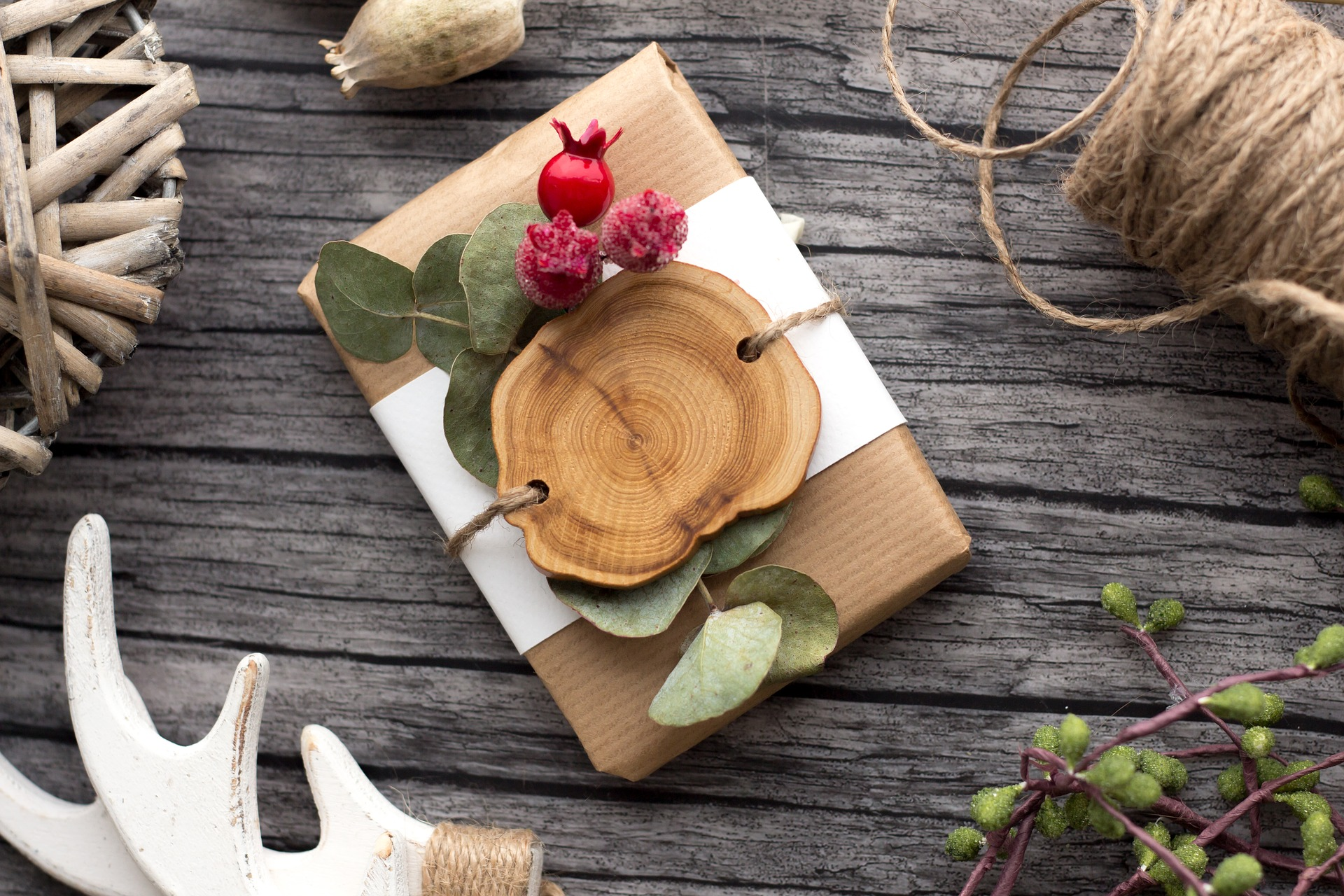 Christmas gift rustic wrapping