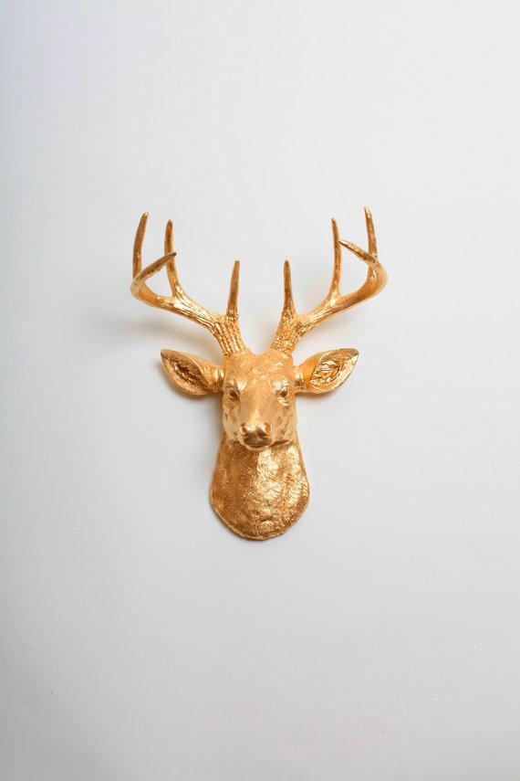 gold deer head faux taxidermy