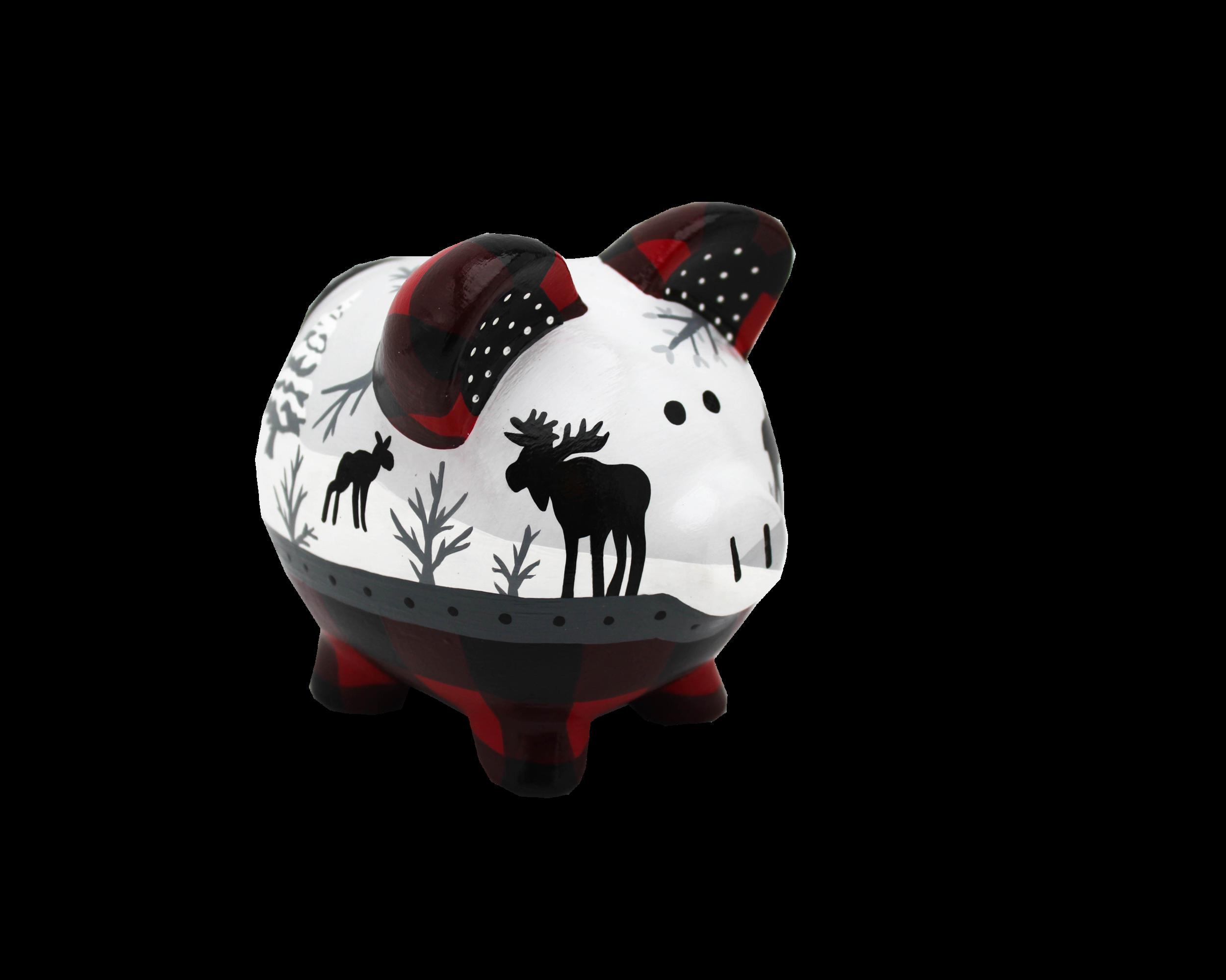 personalized buffalo plaid piggy bank
