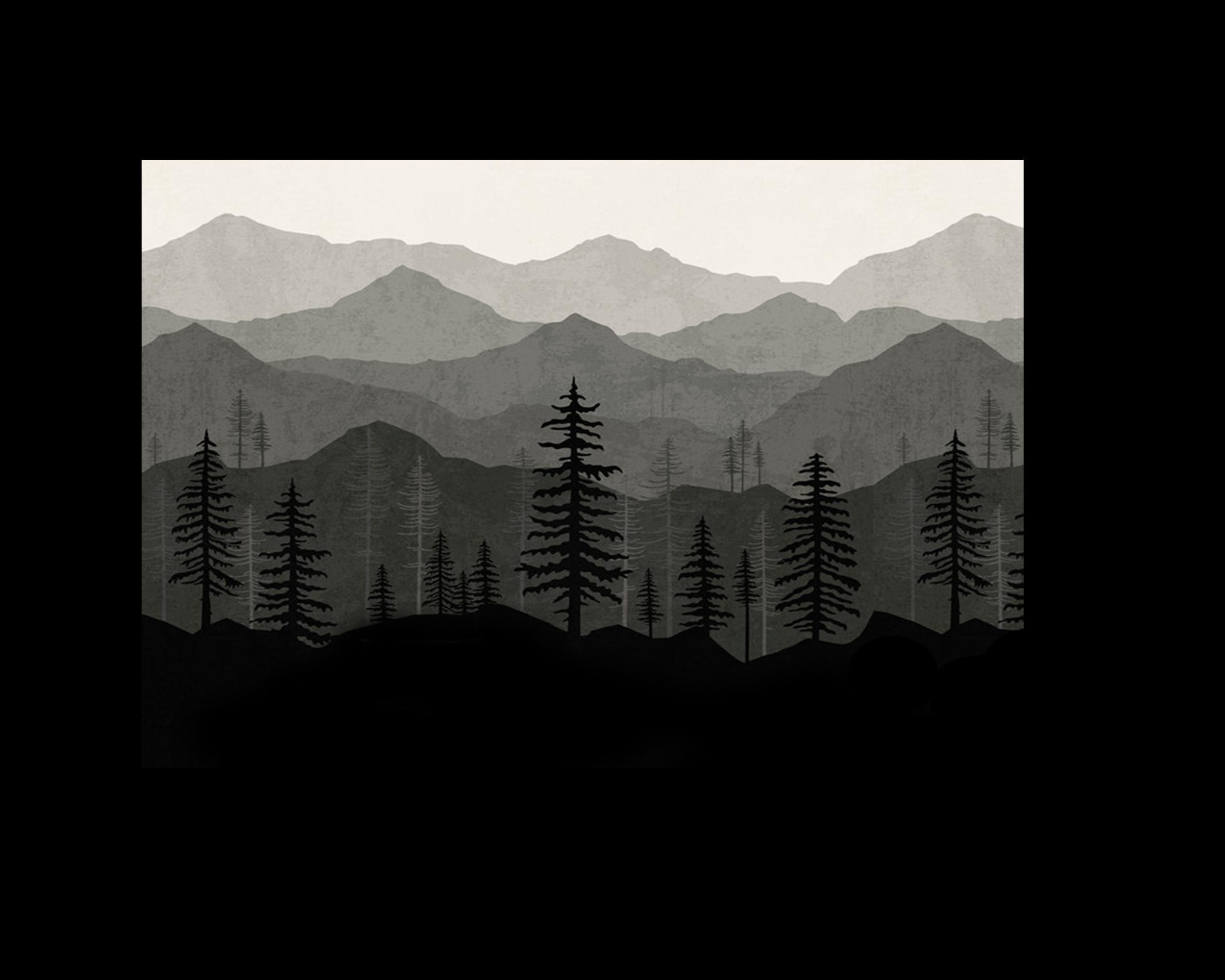 grey ombre mountain mural wallpaper
