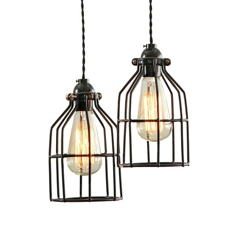 rustic cage ceiling light