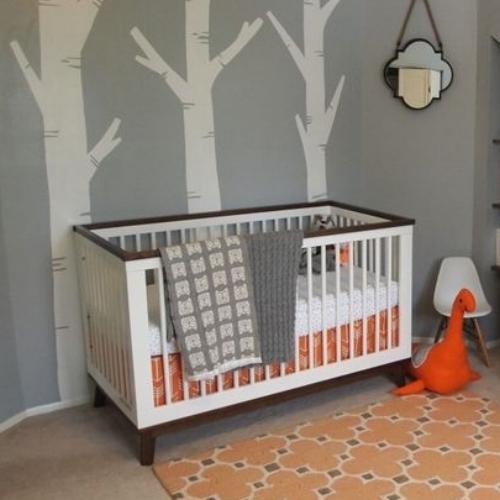 orange grey nature nursery