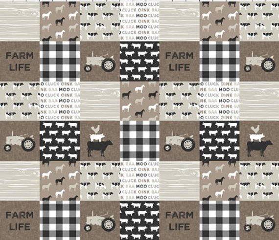 tan grey neutral farm crib bedding