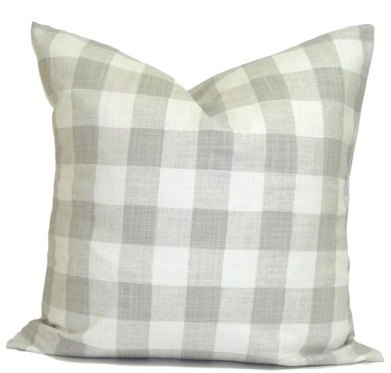 grey buffalo plaid cushion