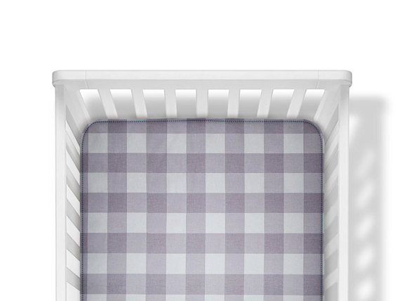 grey buffalo plaid crib sheet