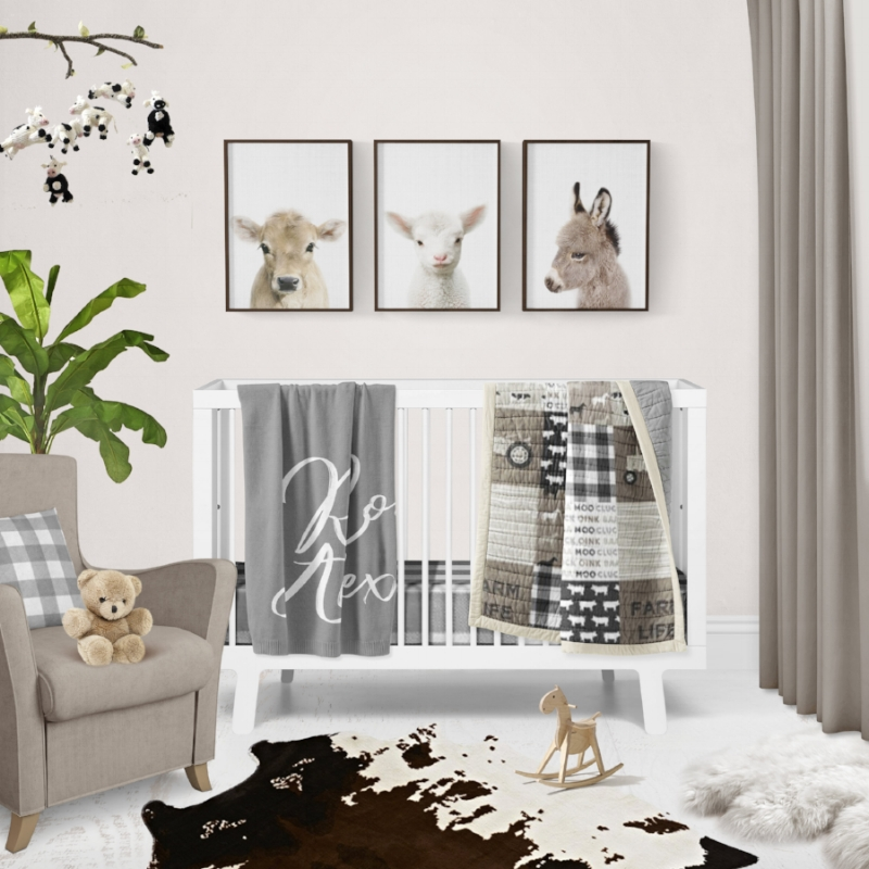 Modern Neutral Farm Themed Nursery