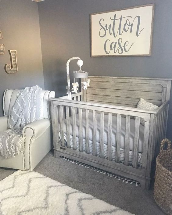 Recreate This Perfect Blue And Grey Neutral Nursery Alphadorable