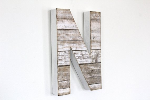 rustic white wood wall letter