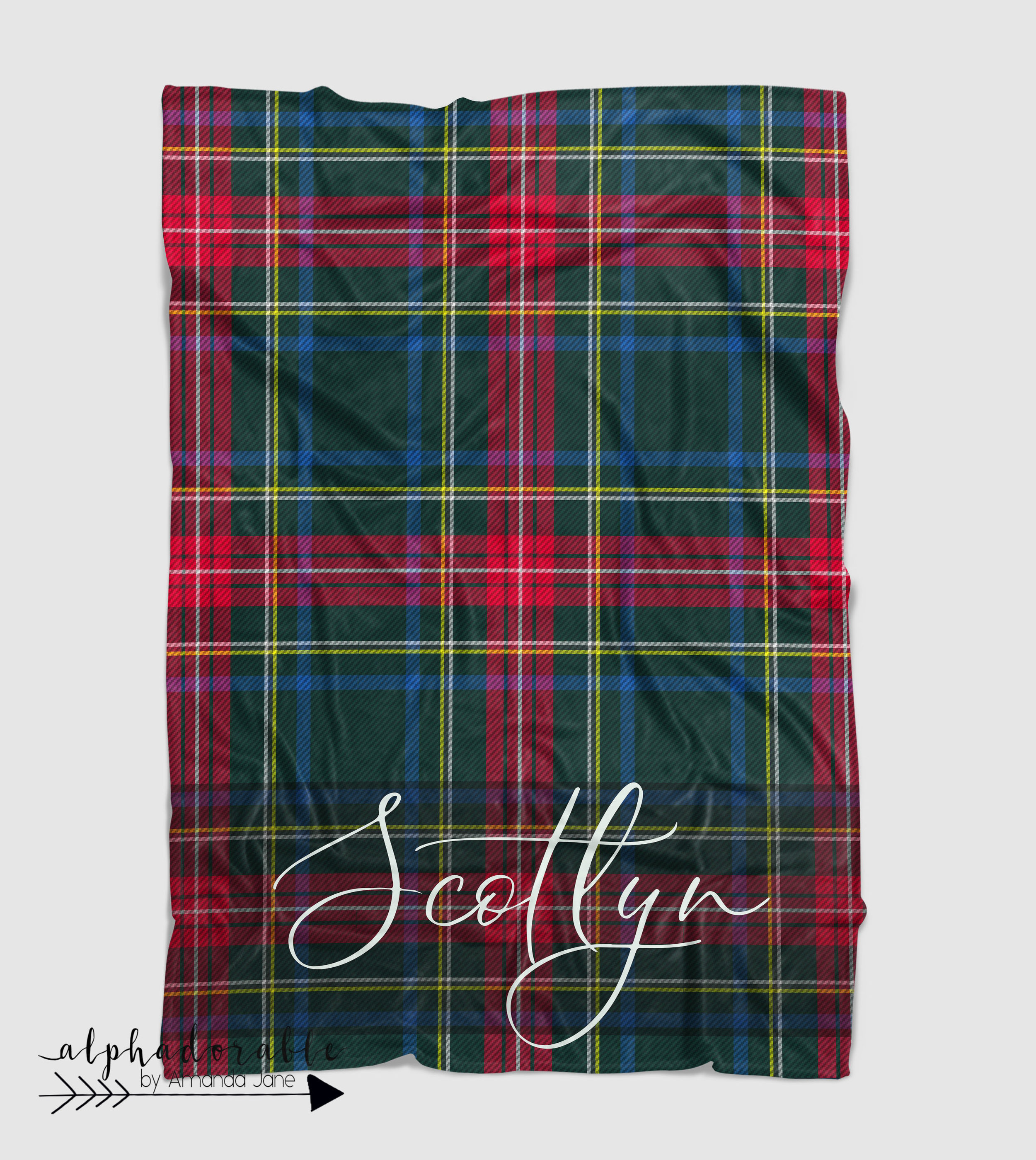 Scottish Tartan Plaid Minky blanket in Red, Navy and Green