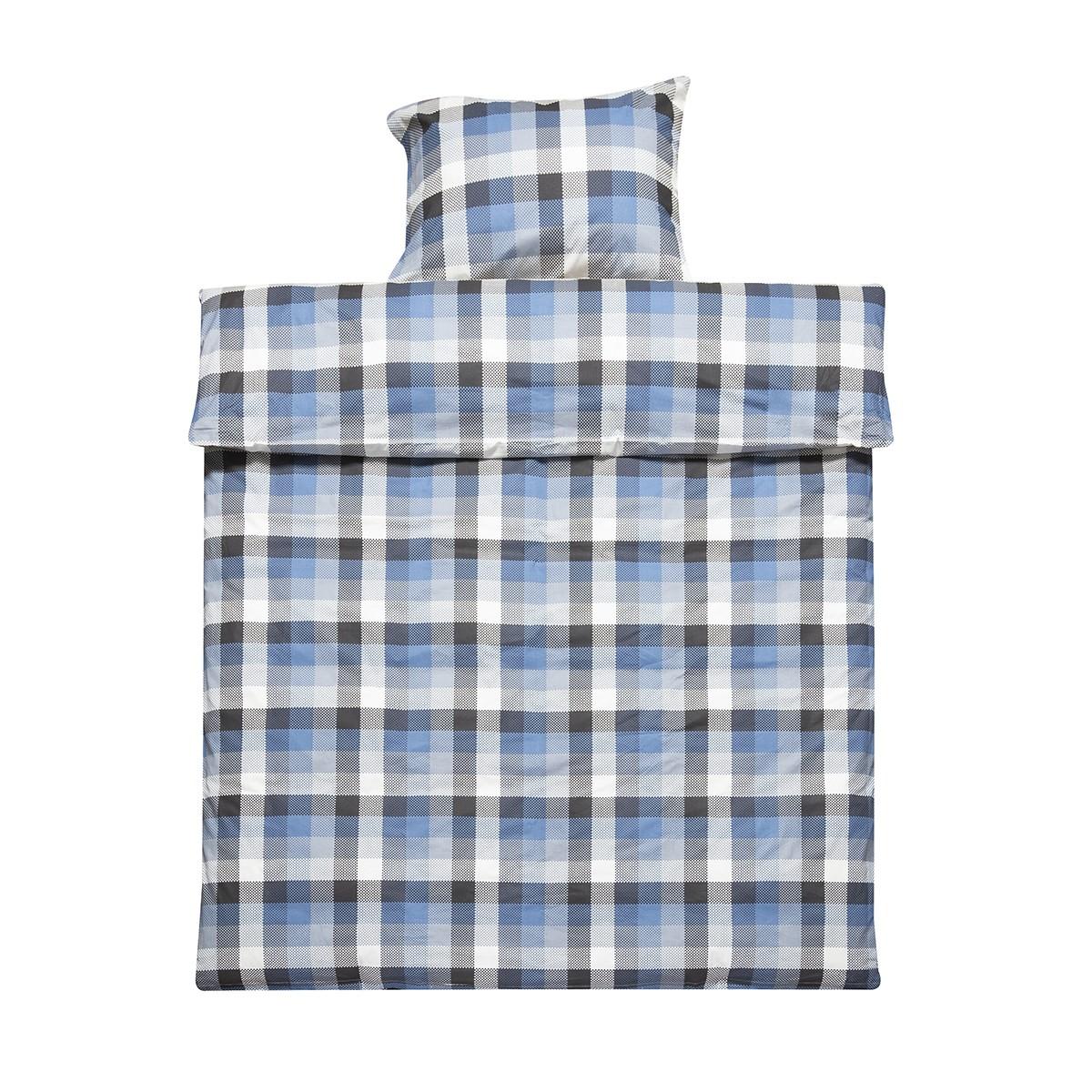 blue black check bedding