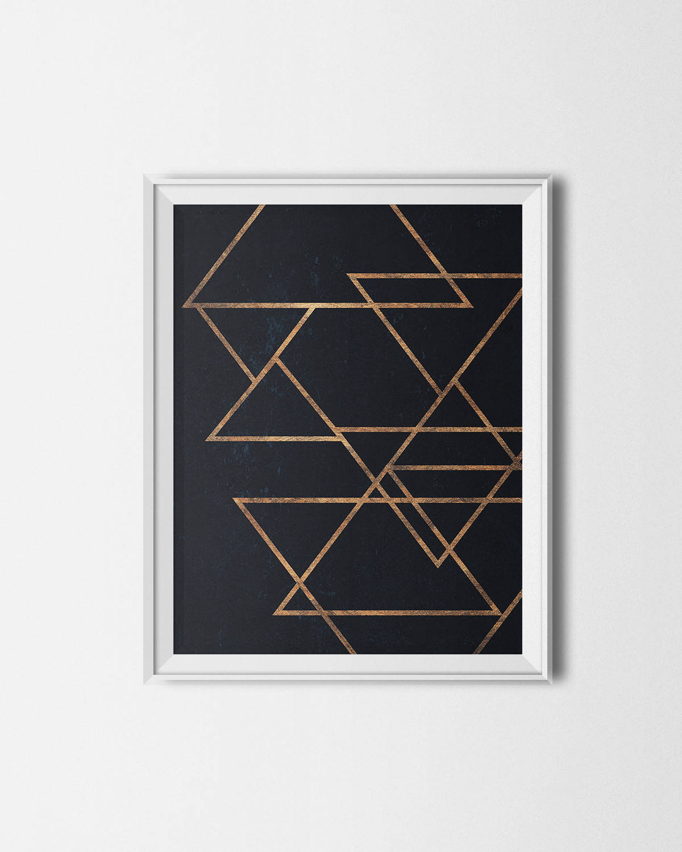 navy gold geometric print