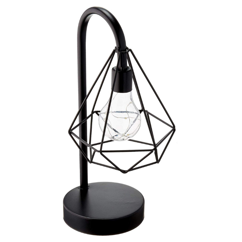 black metal cage lamp desk