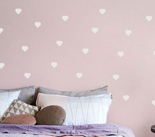 white heart wall decals