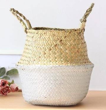 white and natural folding basket