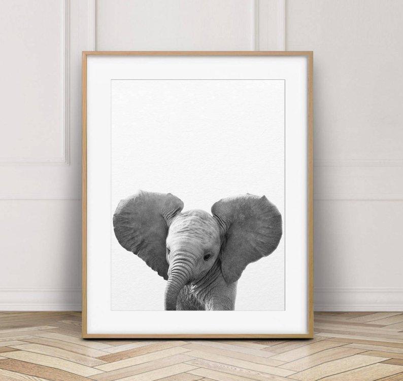 baby elephant nursery print