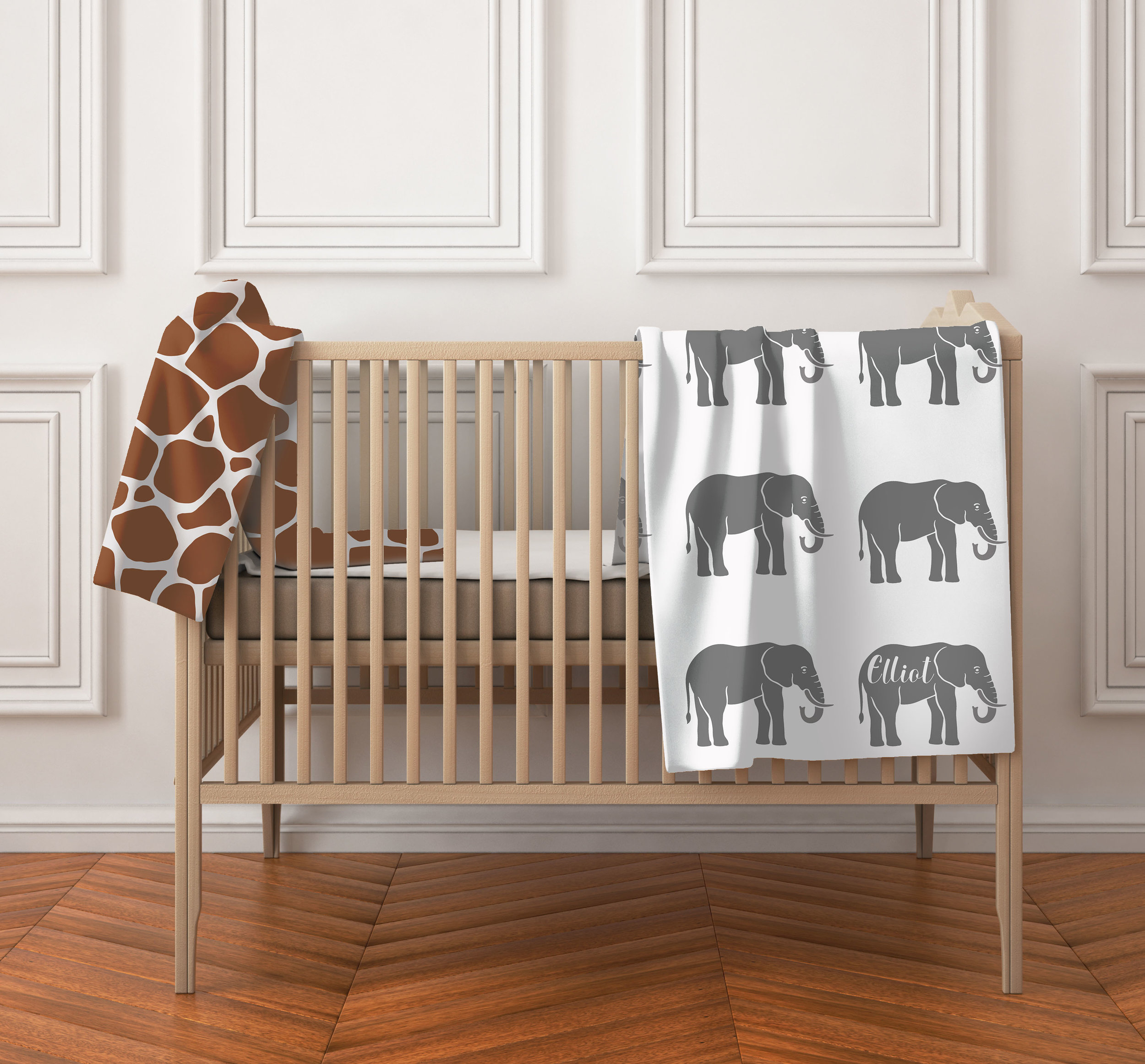 monogram elephant baby blanket