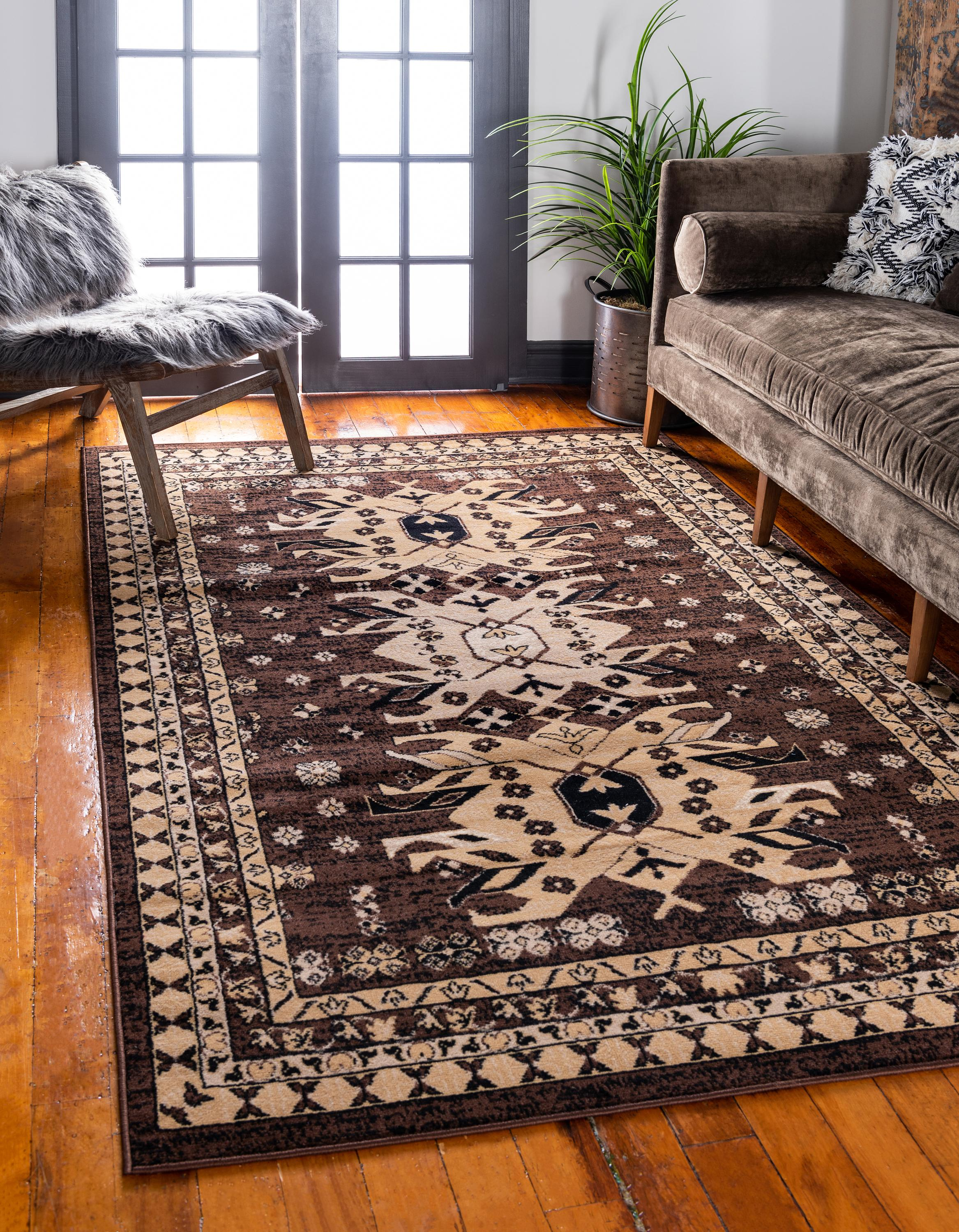brown tribal rug