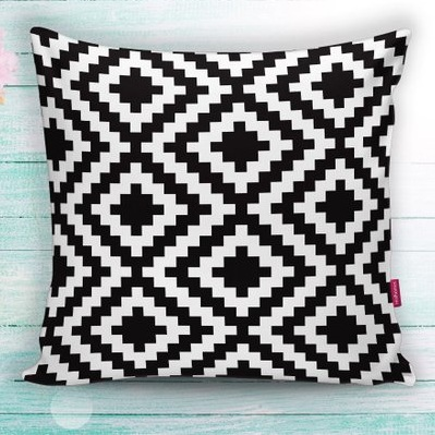 aztec black and white cushion