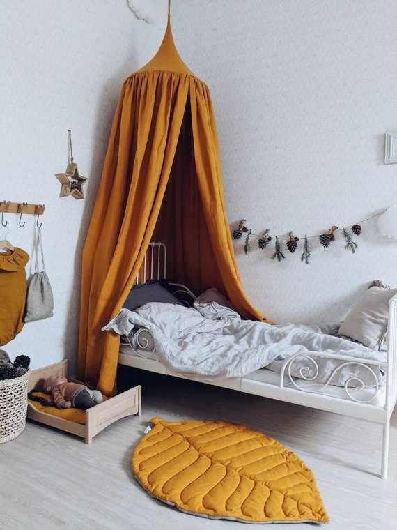 mustard yellow bed canopy