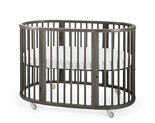 oval grey crib