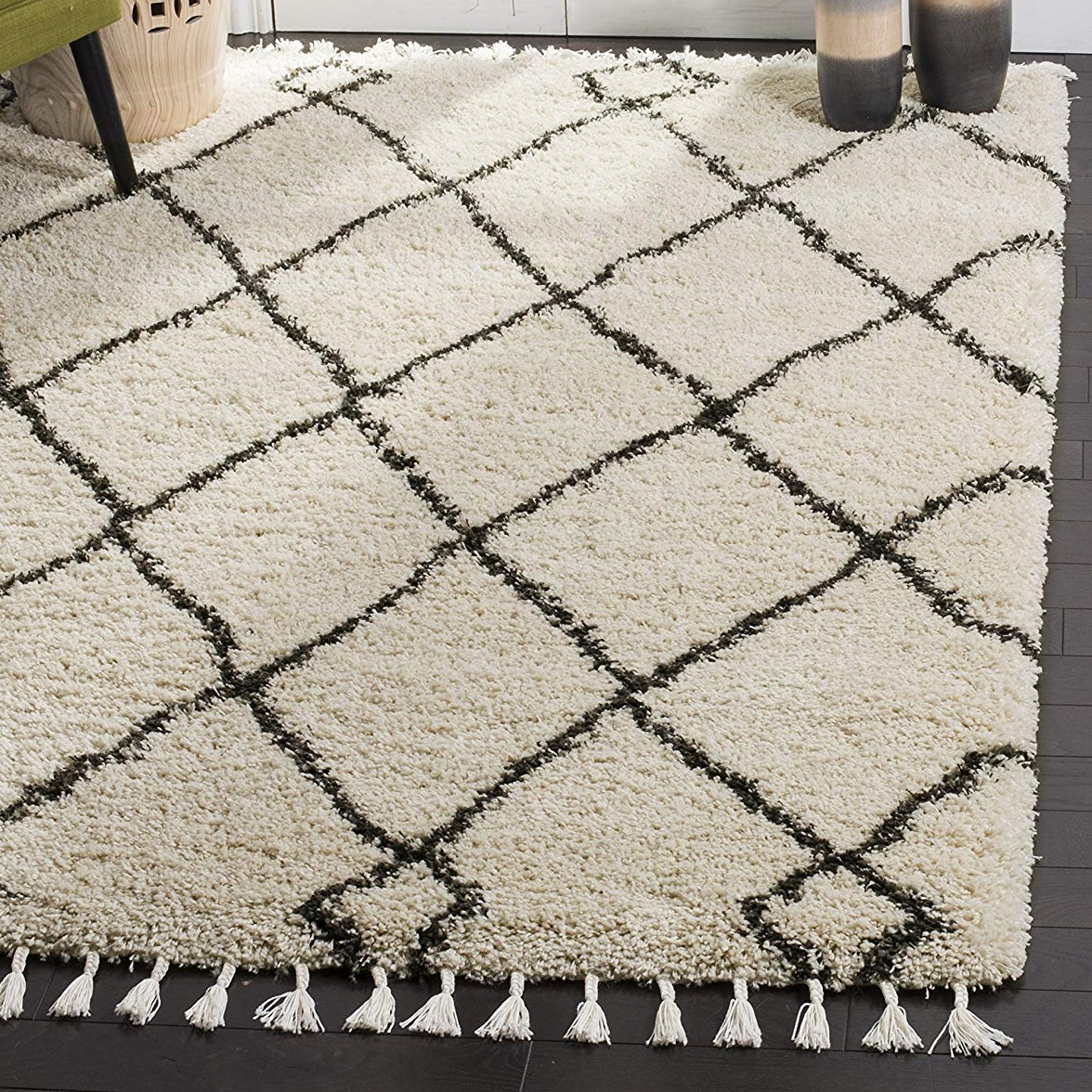 cream and black shag rug
