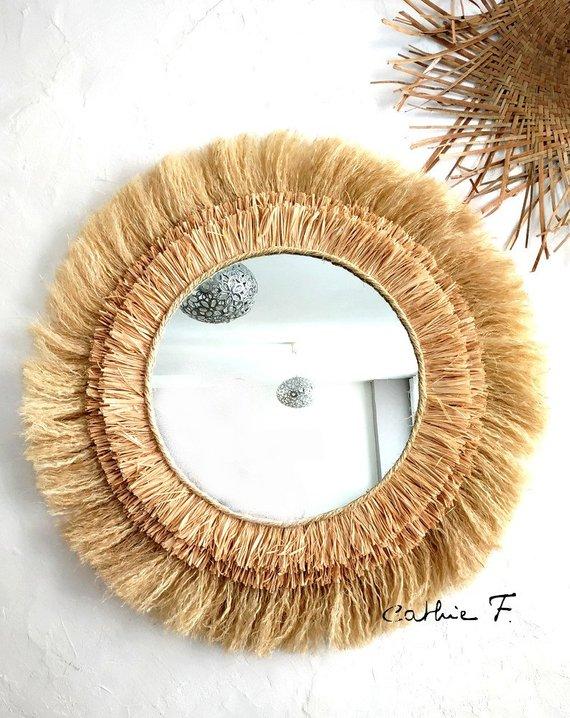 raffia grass mirror