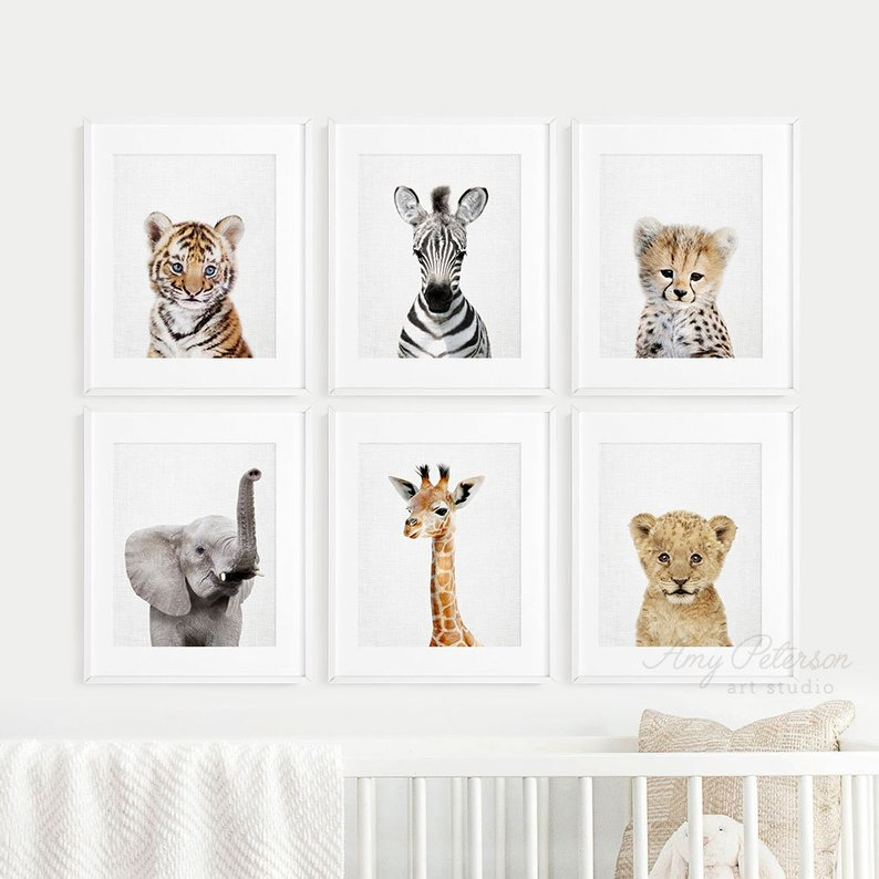 baby animal nursery prints set