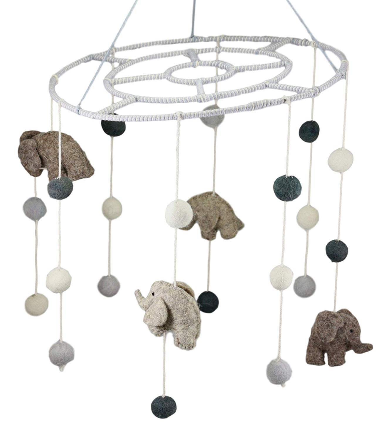 felt elephant crib mobile