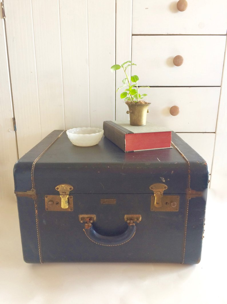vintage navy suitcase trunk