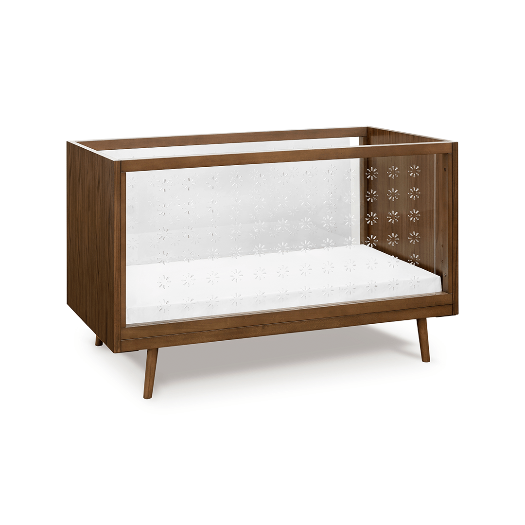clear crib dark wood