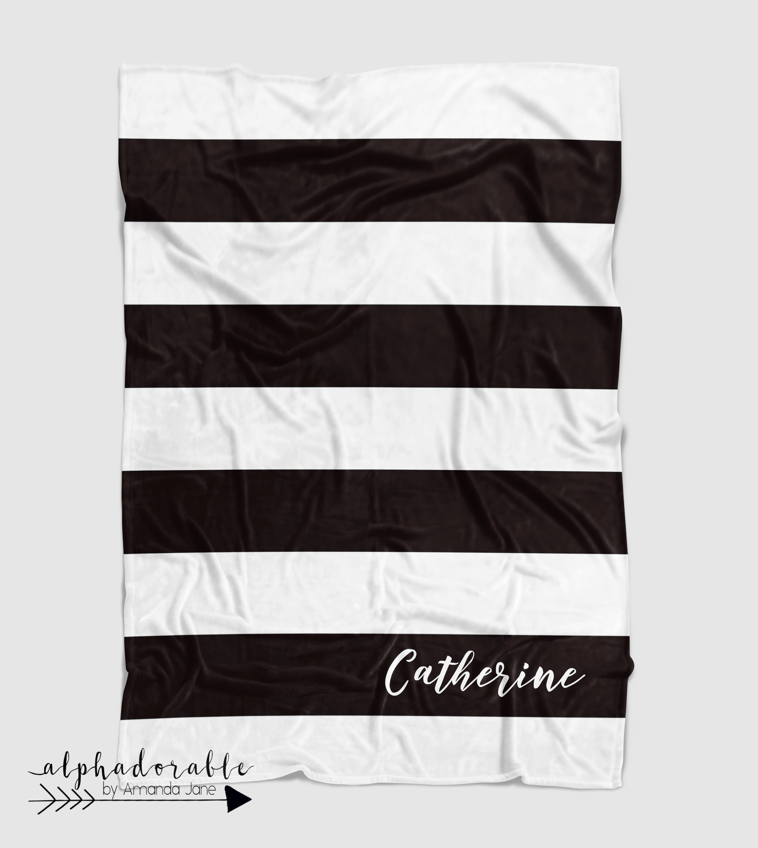 black white striped baby blanket personalized
