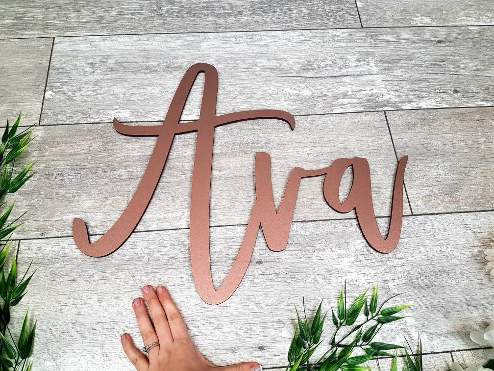 copper wood name letters nursery sign