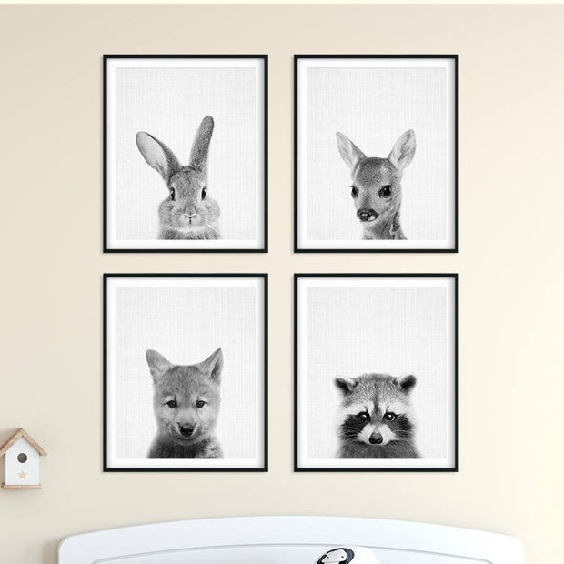 forest animal nursery print set