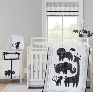 black and white jungle baby bedding