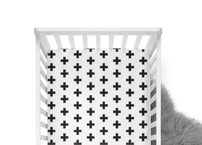 plus sign crib sheet black and white