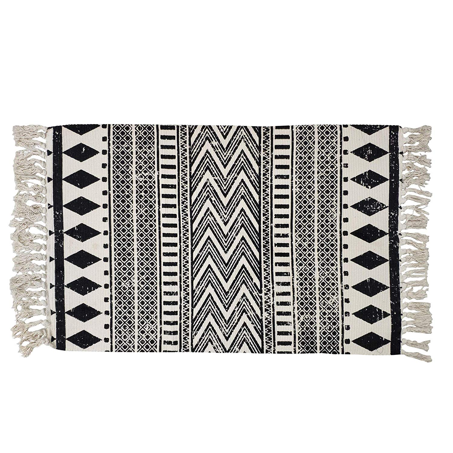 boho rug in black and cream