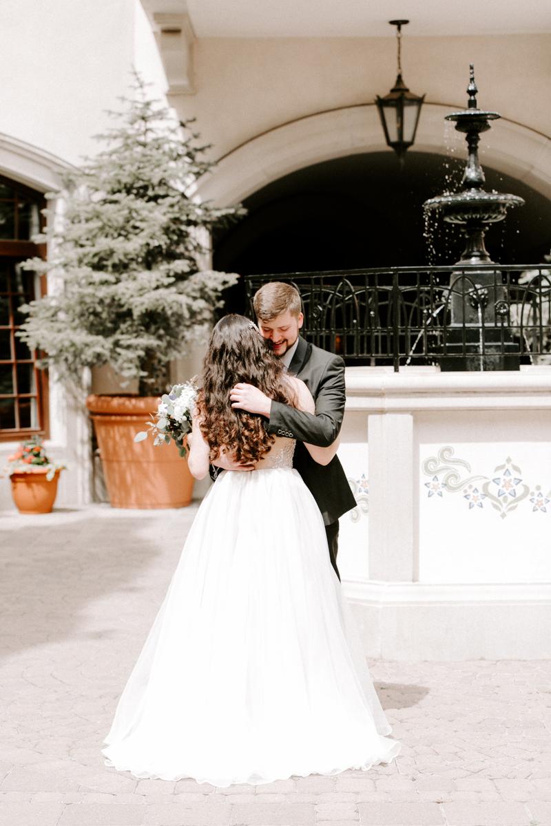 bride groom first look at the arrabelle hotel in vail colorado-3.jpg