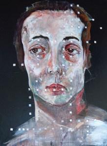 """""""Untitled""""                     Mixed Media on Canvas           31.5″ x 23.5″                   Raiman Rodriquez Moya"""